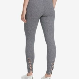 DKNY Grey High Waist Lace Up Leggings, M